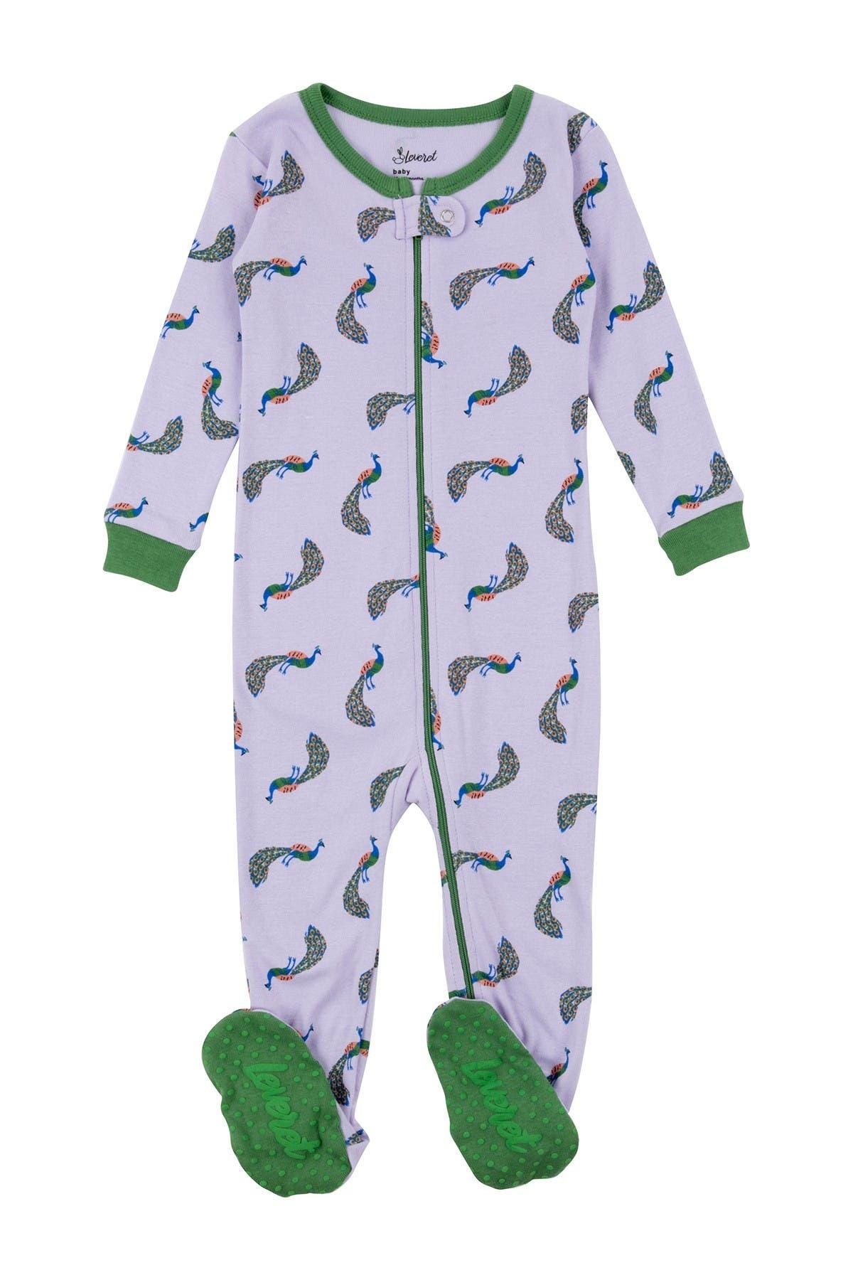 Image of Leveret Peacock Cotton Footie Pajama