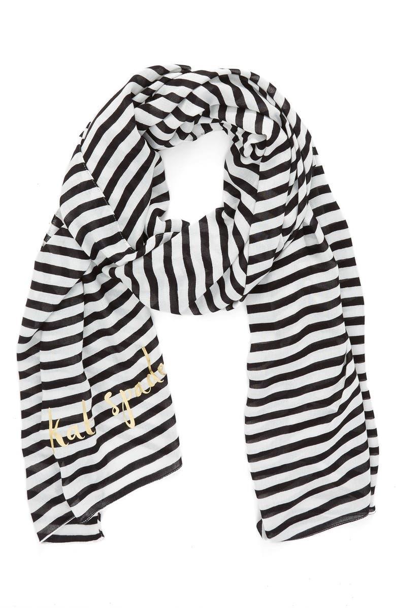 KATE SPADE NEW YORK winter stripe scarf, Main, color, 001