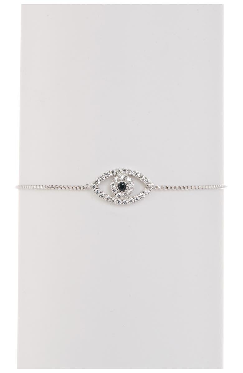 ADORNIA Sterling Silver Pave Swarovski Crystal Evil Eye Lariat Bracelet, Main, color, SILVER