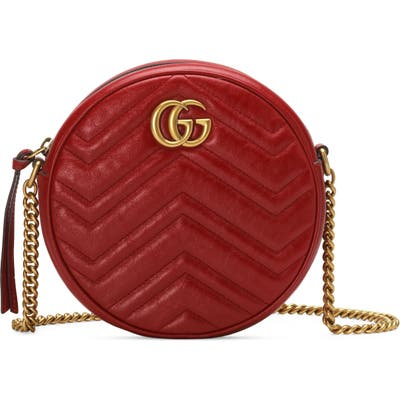 Gucci Mini Leather Canteen Shoulder Bag - Red