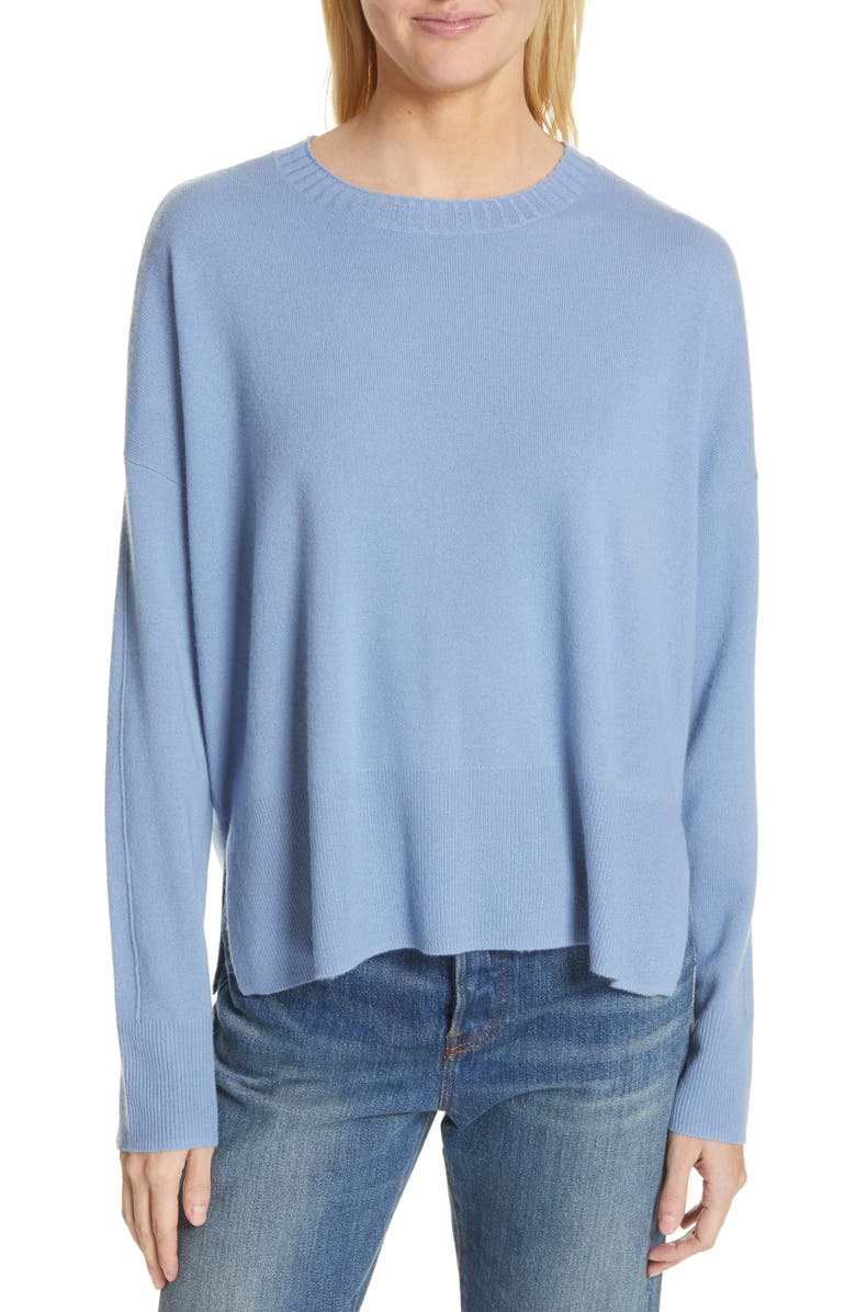 NORDSTROM SIGNATURE Side Vent Silk & Cashmere Crewneck Sweater, Main, color, 420