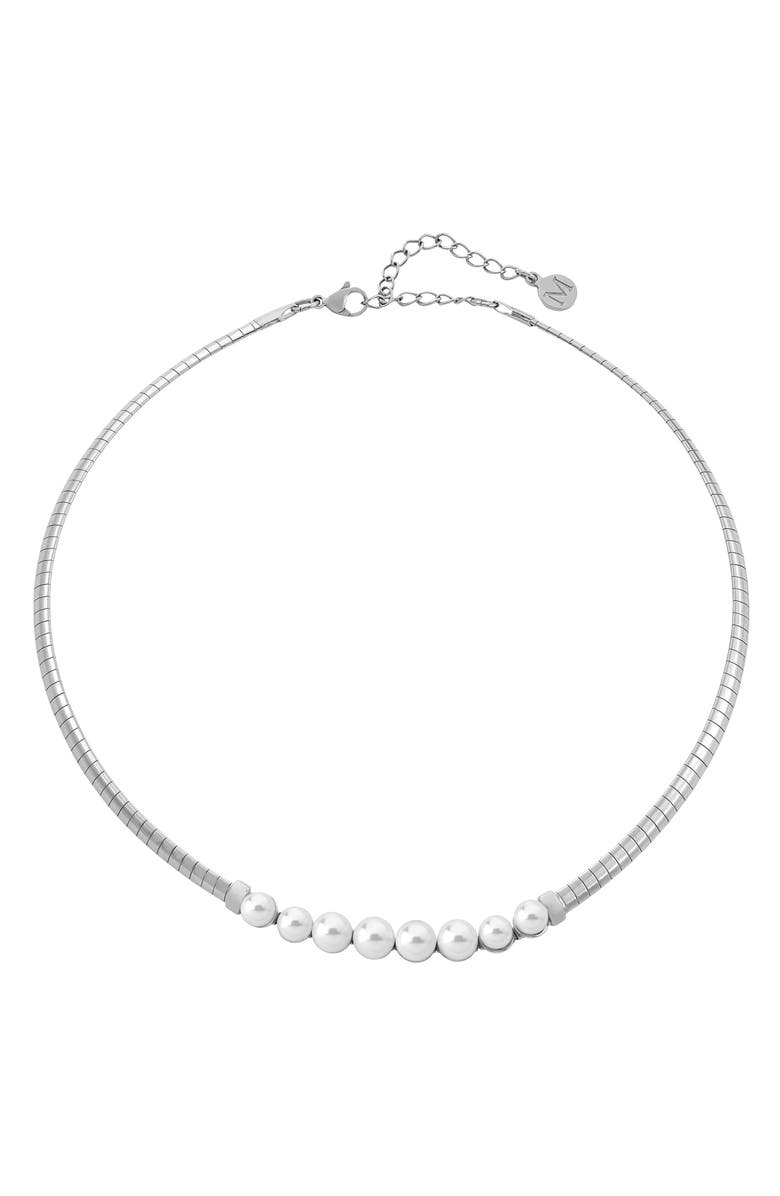 MAJORICA Graduated Simulated Pearl Necklace, Main, color, 040