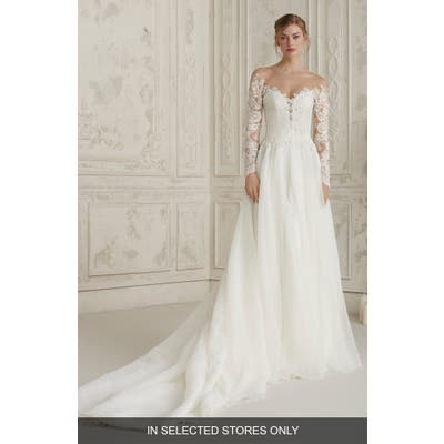 Pronovias Elisea Off The Shoulder Organza Gown, Size IN STORE ONLY - Ivory