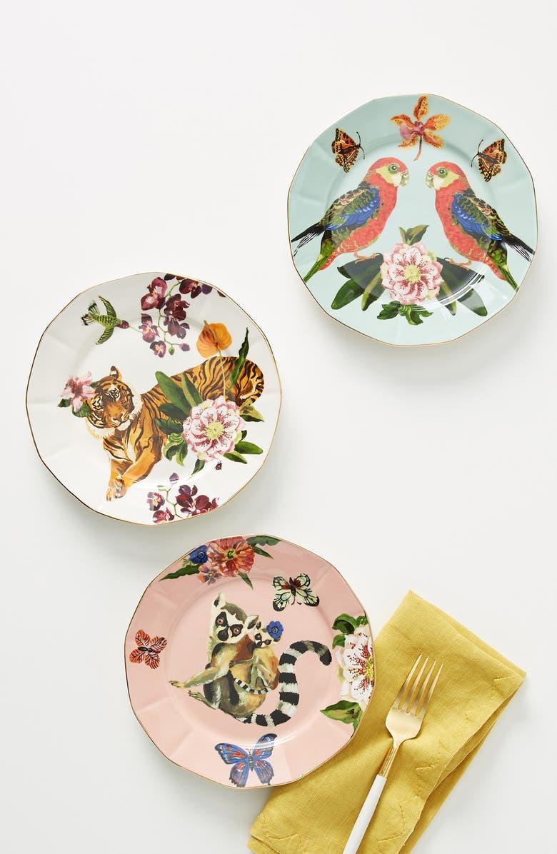 ANTHROPOLOGIE Nathalie Lete Dessert Plate, Main, color, TIGER