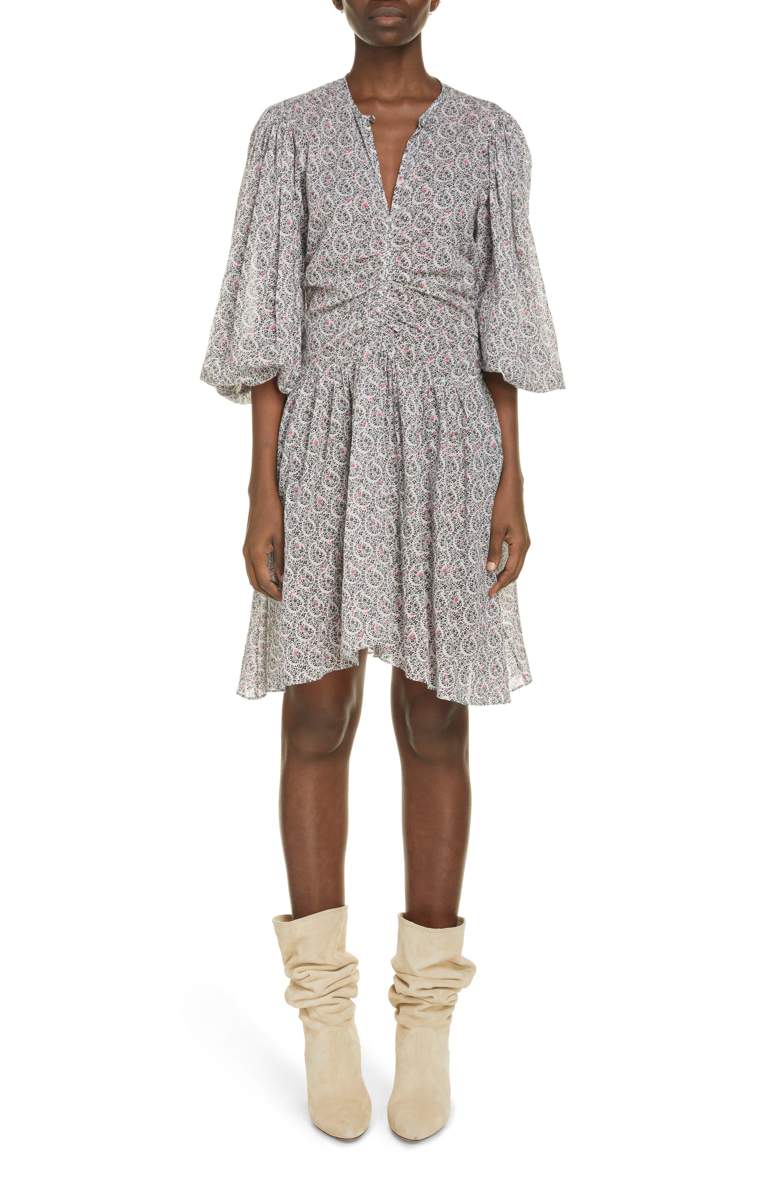 Women's Isabel Marant Etoile Marili Paisley Long Sleeve Cotton Dress