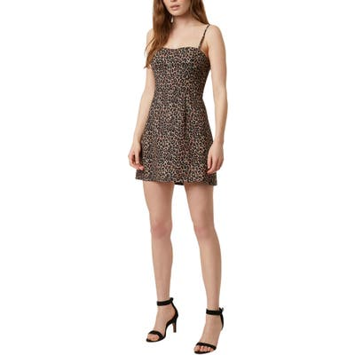 French Connection Animal Print Minidress, Black