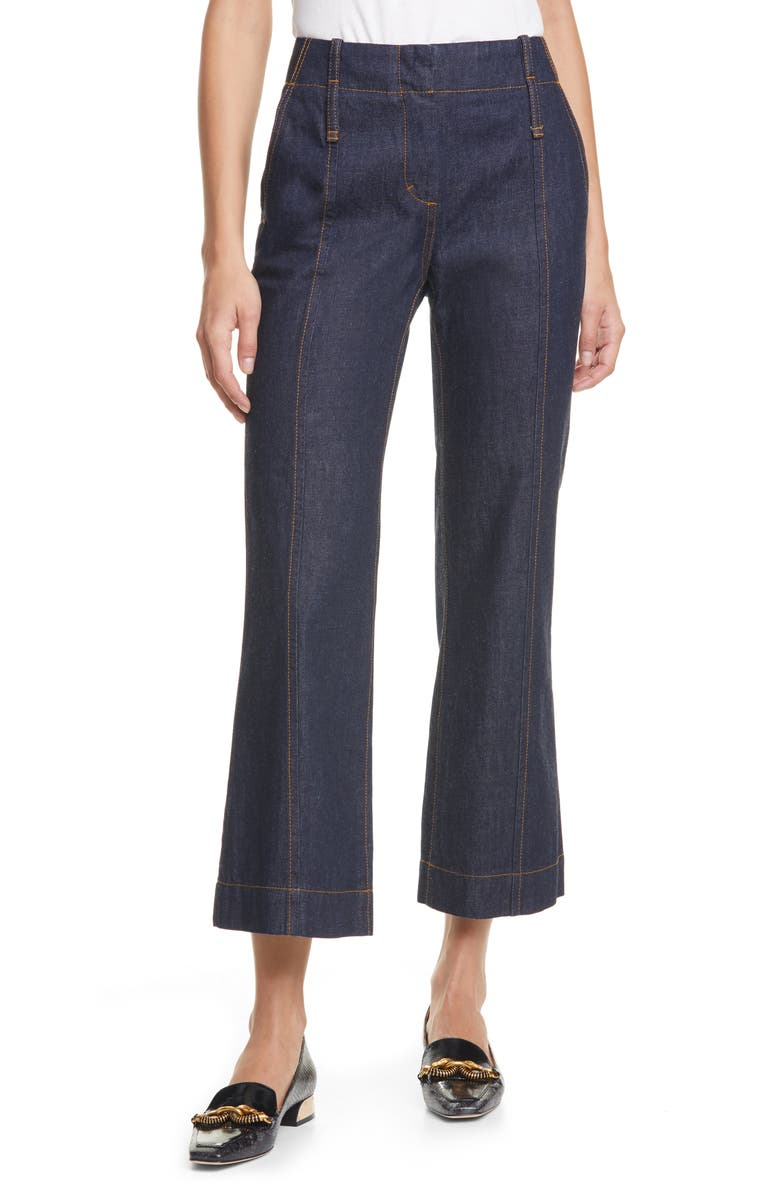 TORY BURCH Crop Flare Nonstretch Jeans, Main, color, RESIN RINSE