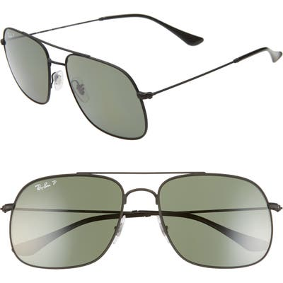 Ray-Ban 5m Polarized Navigator Sunglasses - Rubber Black