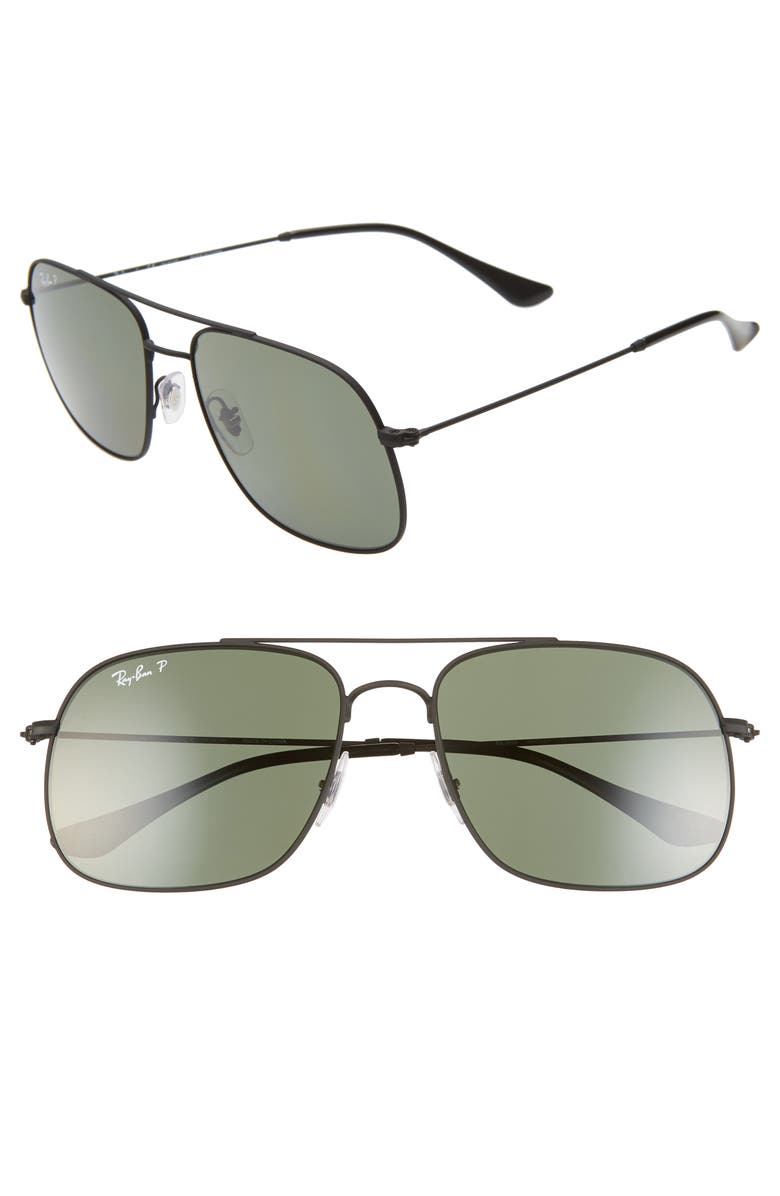 RAY-BAN 59mm Polarized Navigator Sunglasses, Main, color, RUBBER BLACK