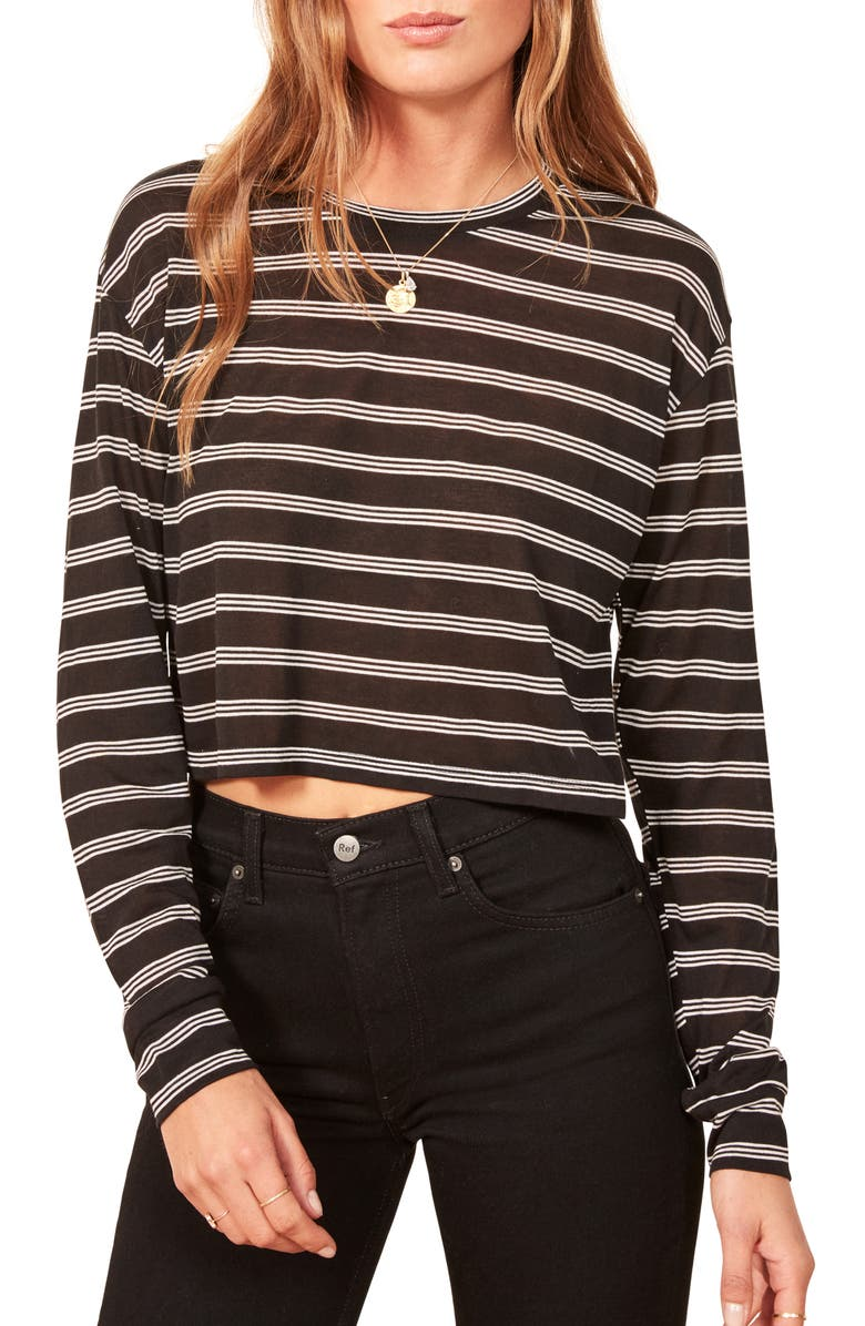 REFORMATION Chloe Stripe Top, Main, color, 001