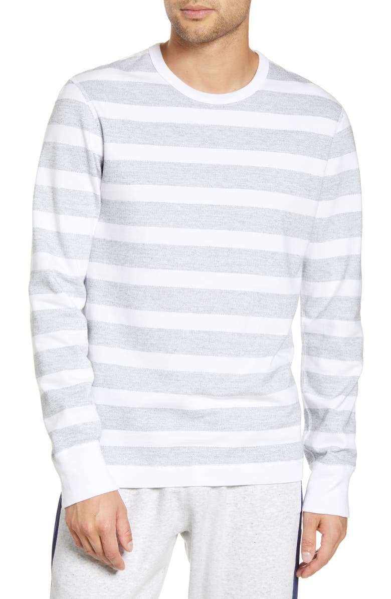 REIGNING CHAMP Stripe Long Sleeve T-Shirt, Main, color, WHITE