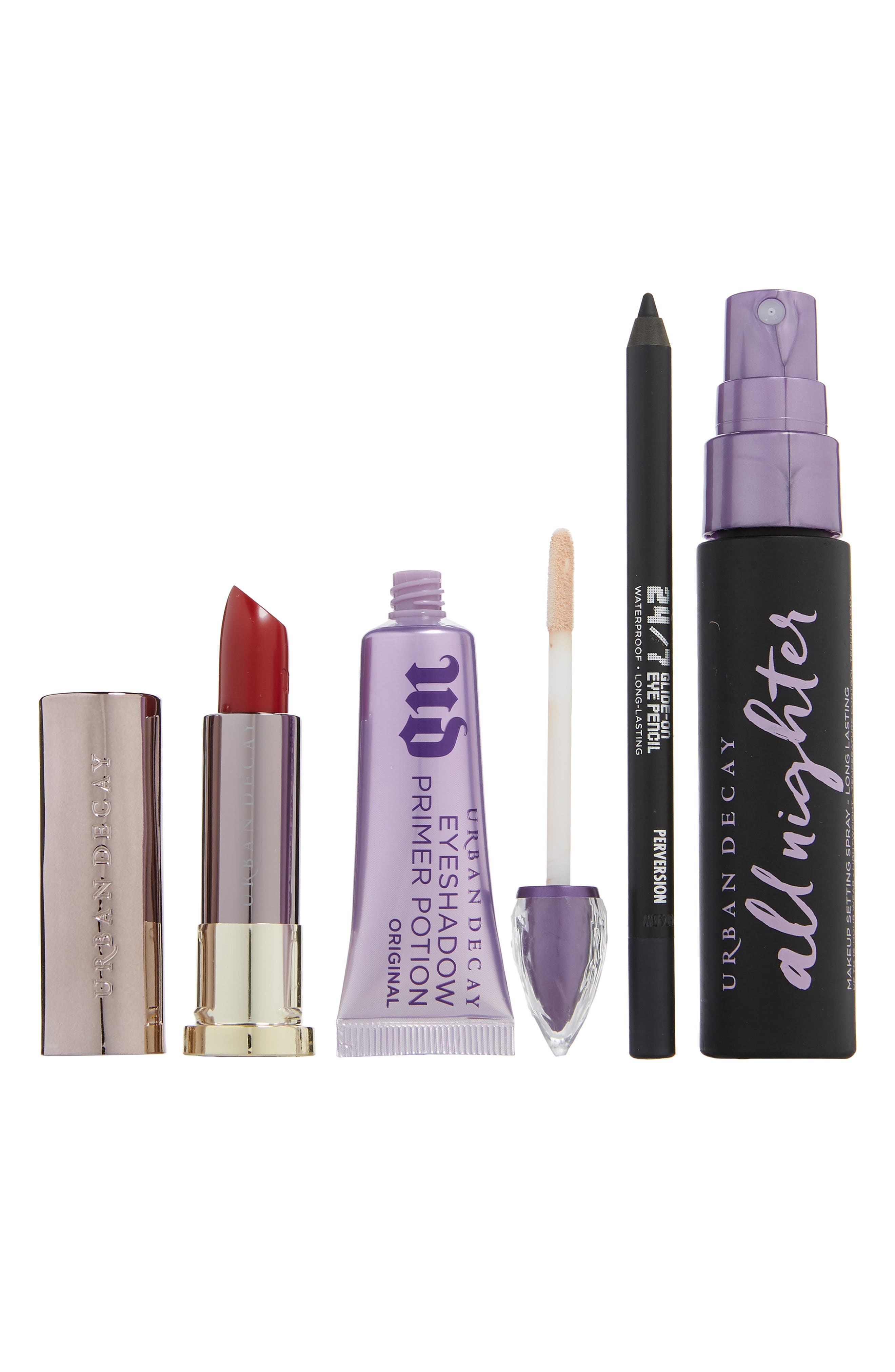 What it is: A limited-edition makeup kit filled with four Urban Decay fan favorites to help you create the perfect holiday makeup look. Set includes:- Full-size Original Eyeshadow Primer Potion (0.33 oz.): a vegan primer that preps your eyes with a creamy base for more vibrant, crease-free eye makeup looks that last all day- Full-size 24/7 Glide-On Eyeliner Pencil in Zero (0.04 oz.): a waterproof, long-lasting eyeliner pencil that glides on