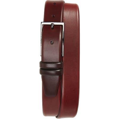 Boss Carmello Leather Belt, Dark Red