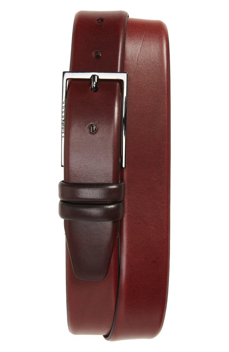 BOSS Carmello Leather Belt, Main, color, DARK RED