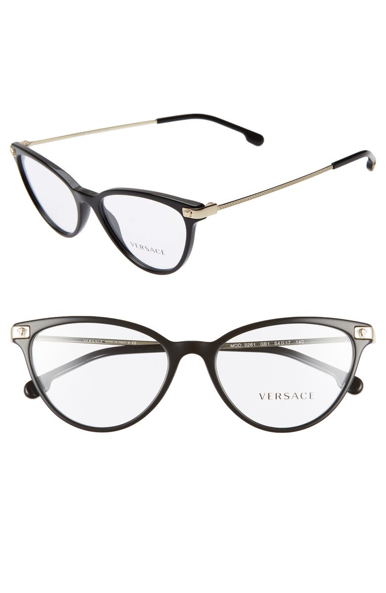 VERSACE 54mm Cat Eye Optical Glasses, Main, color, BLACK/ GOLD