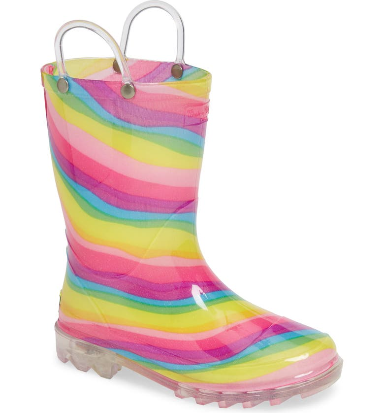 WESTERN CHIEF Rainbow Light-Up Waterproof Rain Boot, Main, color, MULTI