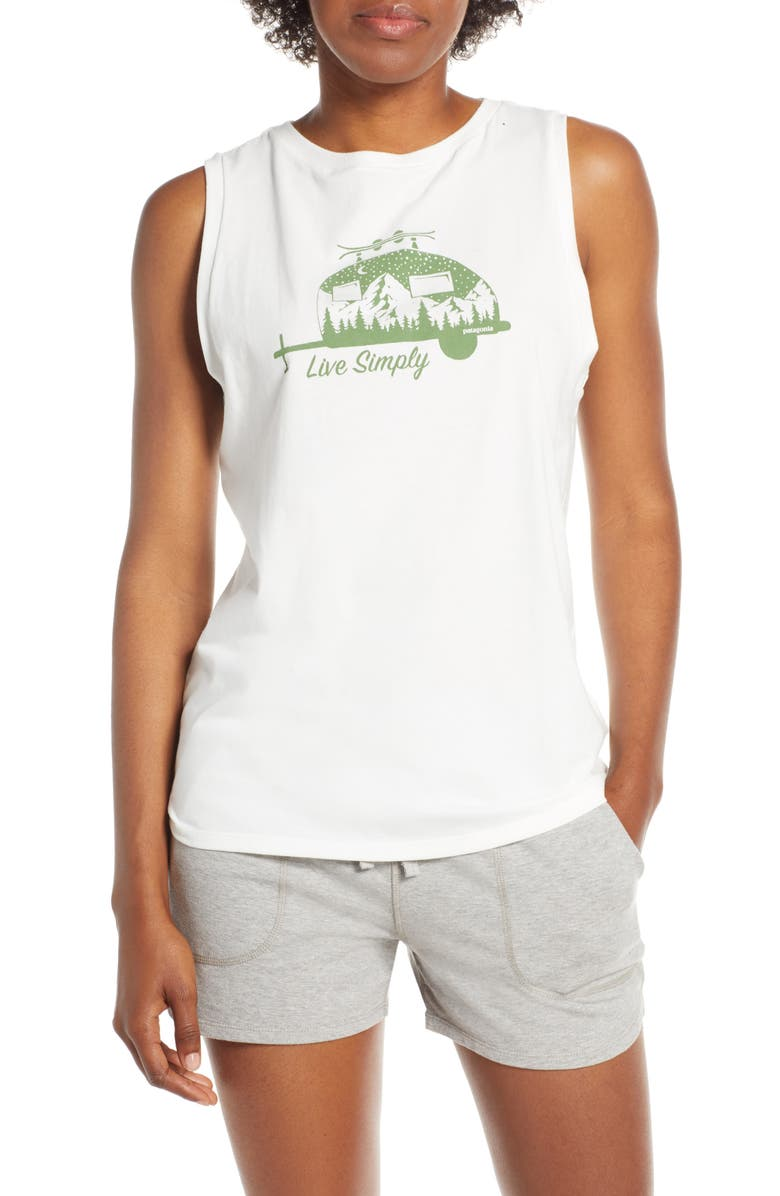 PATAGONIA Live Simply<sup>®</sup> Trailer Graphic Muscle Tee, Main, color, WHITE
