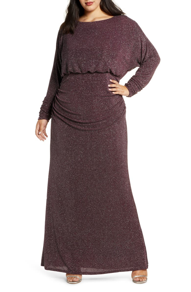 VINCE CAMUTO Cowl Back Metallic Long Sleeve Gown, Main, color, PLUM
