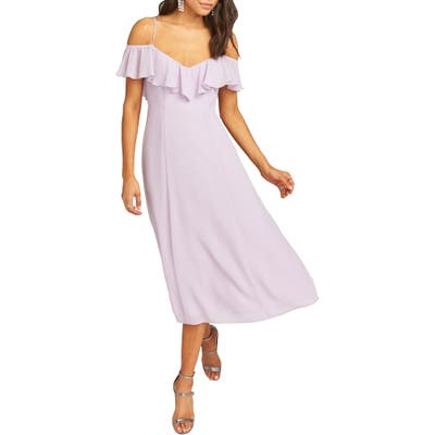 Show Me Your Mumu Camilla Ruffle Neck Tea Length Dress, Purple