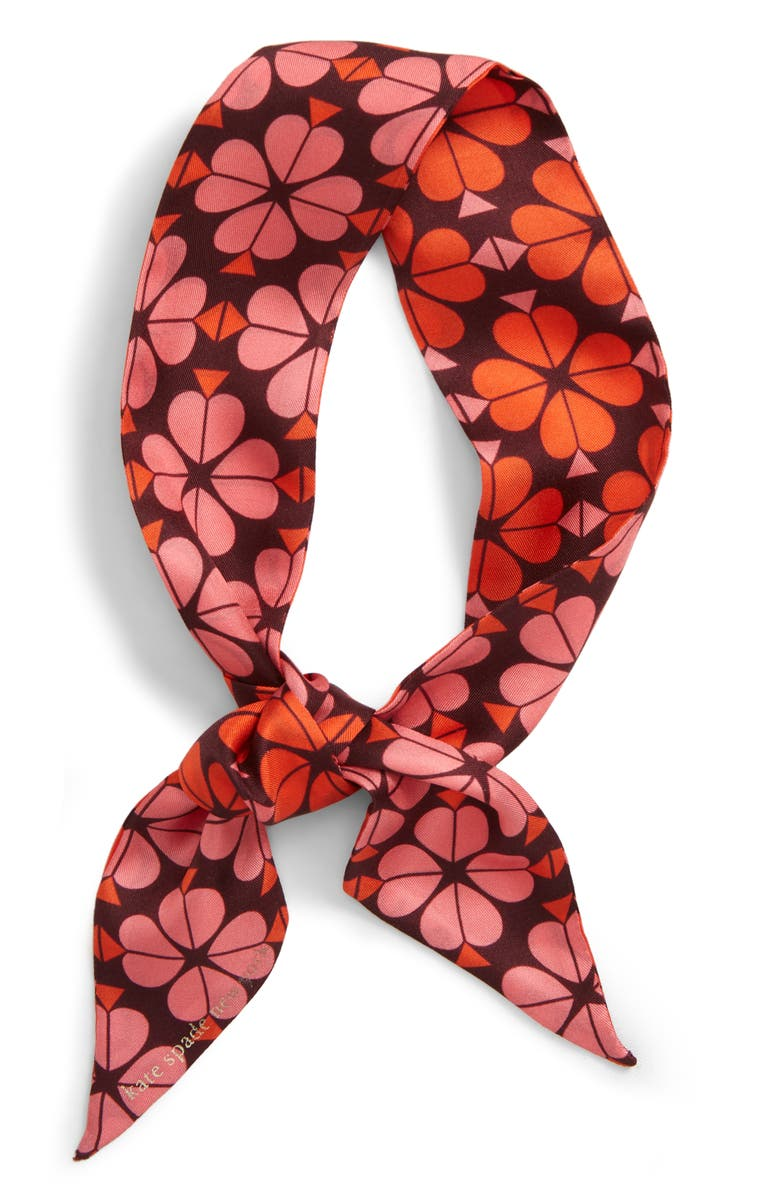 KATE SPADE NEW YORK flower spade skinny silk scarf, Main, color, CHERRYWOOD