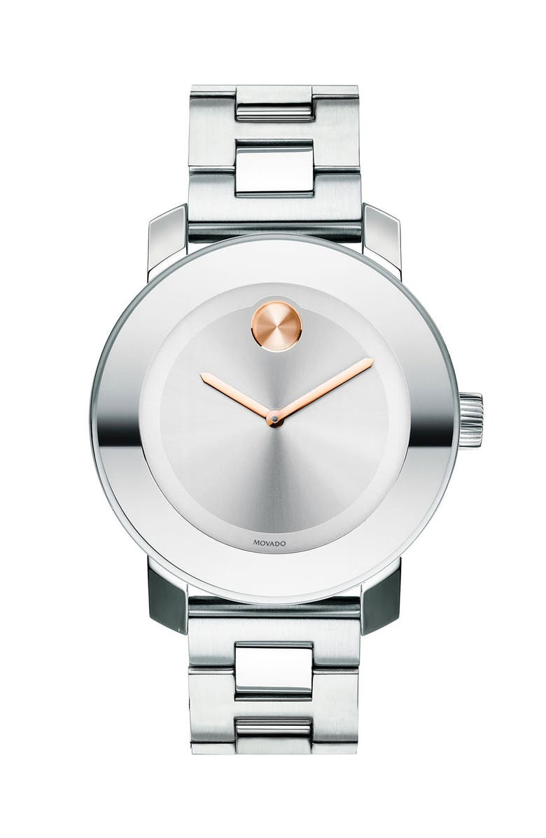 MOVADO 'Bold' Round Bracelet Watch, 36mm, Main, color, SILVER