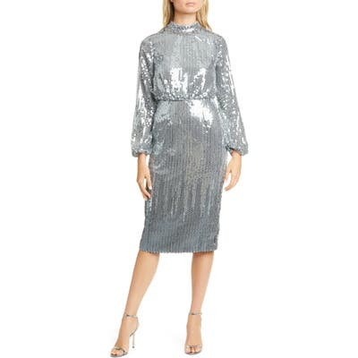 Ted Baker London Sequin Long Sleeve Dress, (fits like 0-2 US) - Grey