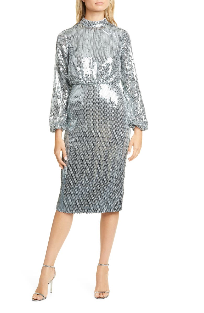 TED BAKER LONDON Sequin Long Sleeve Dress, Main, color, GUNMETAL