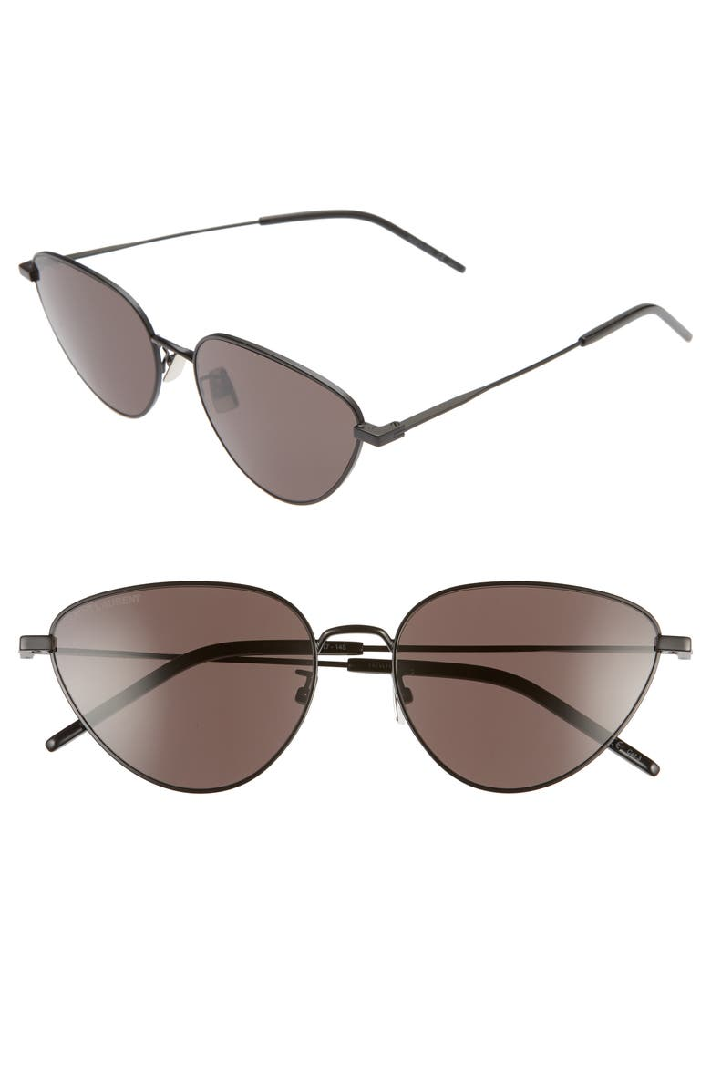 SAINT LAURENT 57mm Cat Eye Sunglasses, Main, color, SEMI MATTE BLACK/ BLACK