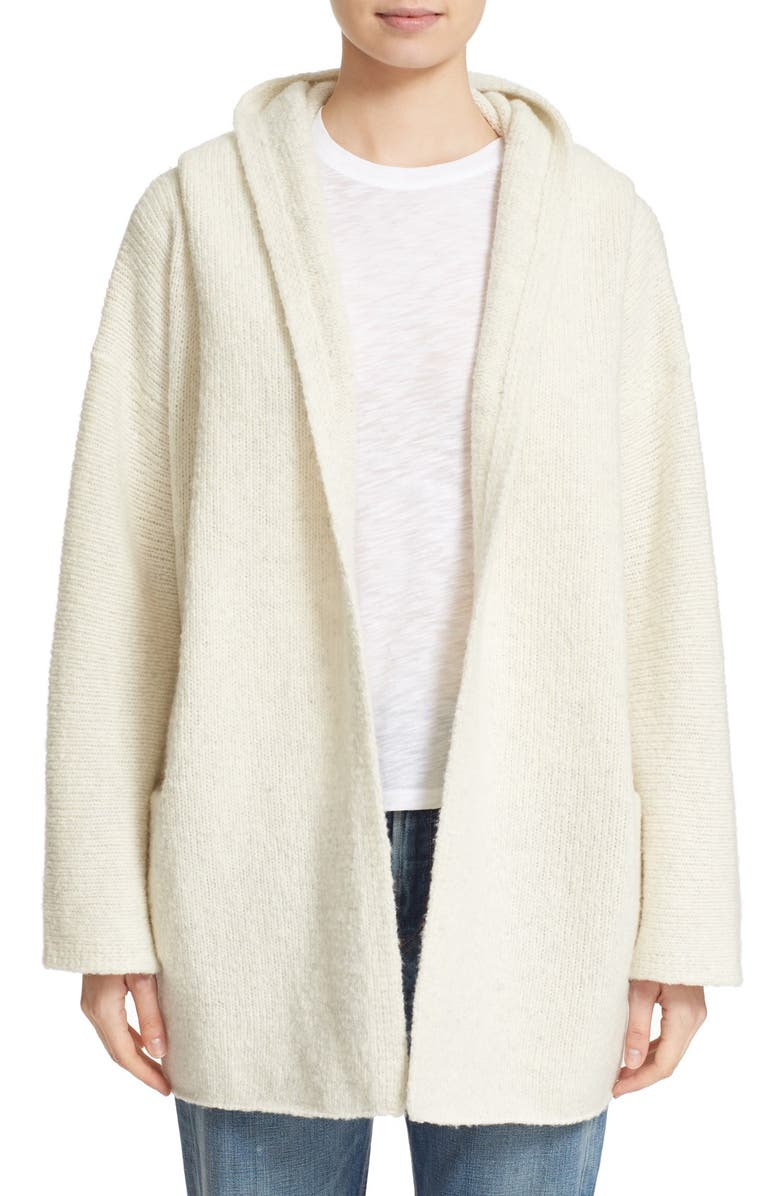 VINCE Hooded Open Front Wool Blend Cardigan, Main, color, 108