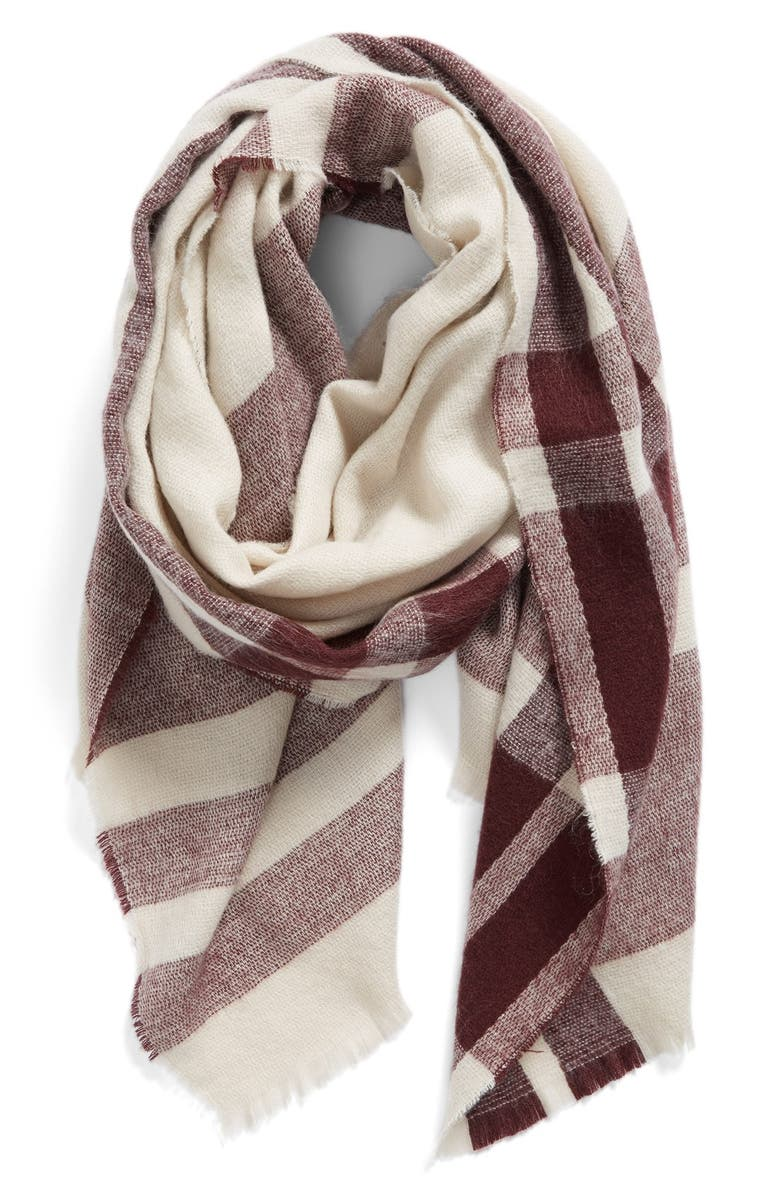 BP. Fringe Trim Plaid Oblong Scarf, Main, color, 235