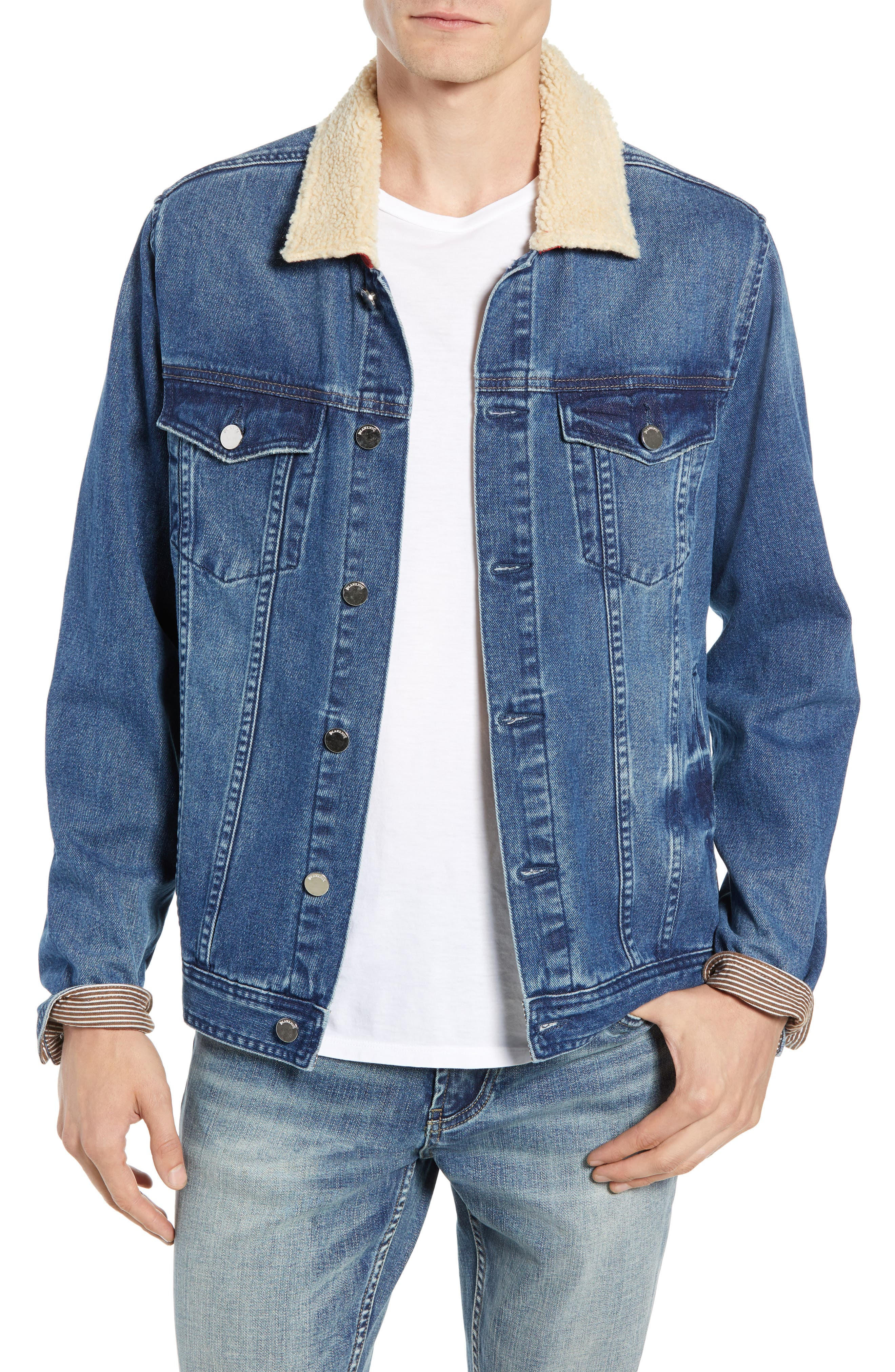 Blanknyc Fleece Collar Denim Trucker Jacket, Blue