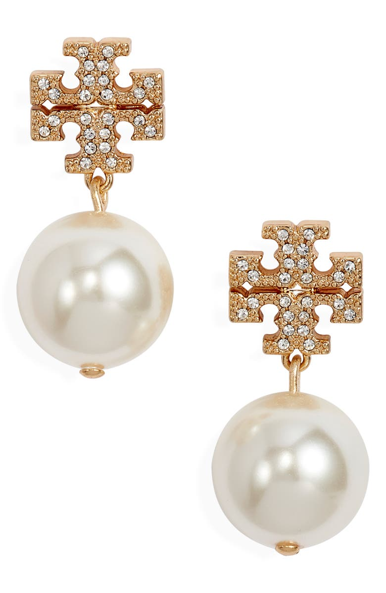 TORY BURCH Imitation Pearl Drop Earrings, Main, color, TORY GOLD/ CRYSTAL