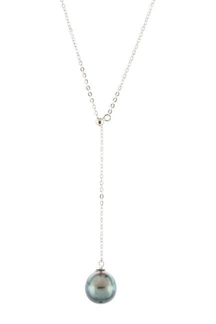Image of Splendid Pearls Sterling Silver 9-9.5mm Tahitian Pearl Slider Pendant Necklace