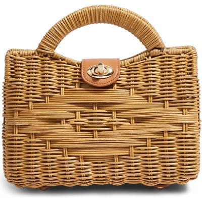 Topshop Saffi Woven Wicker Top Handle Bag - Beige