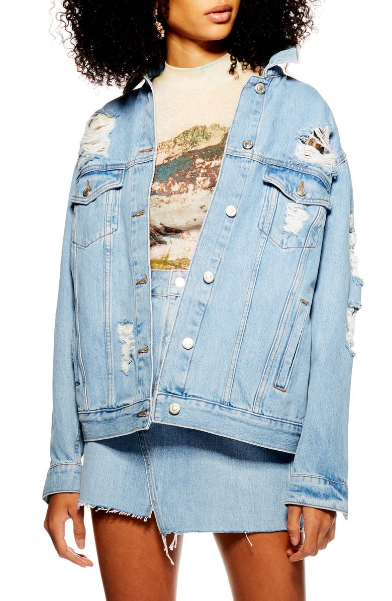 TOPSHOP Ripped Denim Jacket, Main, color, MID DENIM