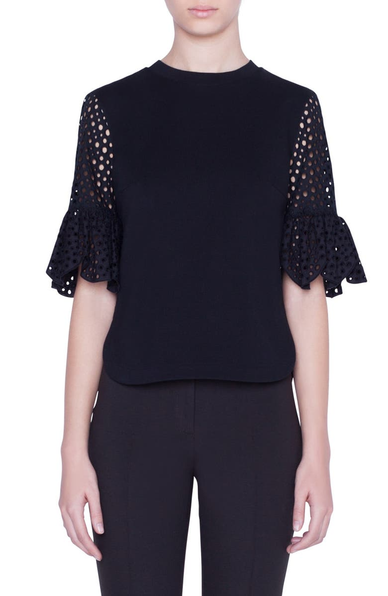 AKRIS PUNTO Broderie Anglaise Trim Blouse, Main, color, BLACK