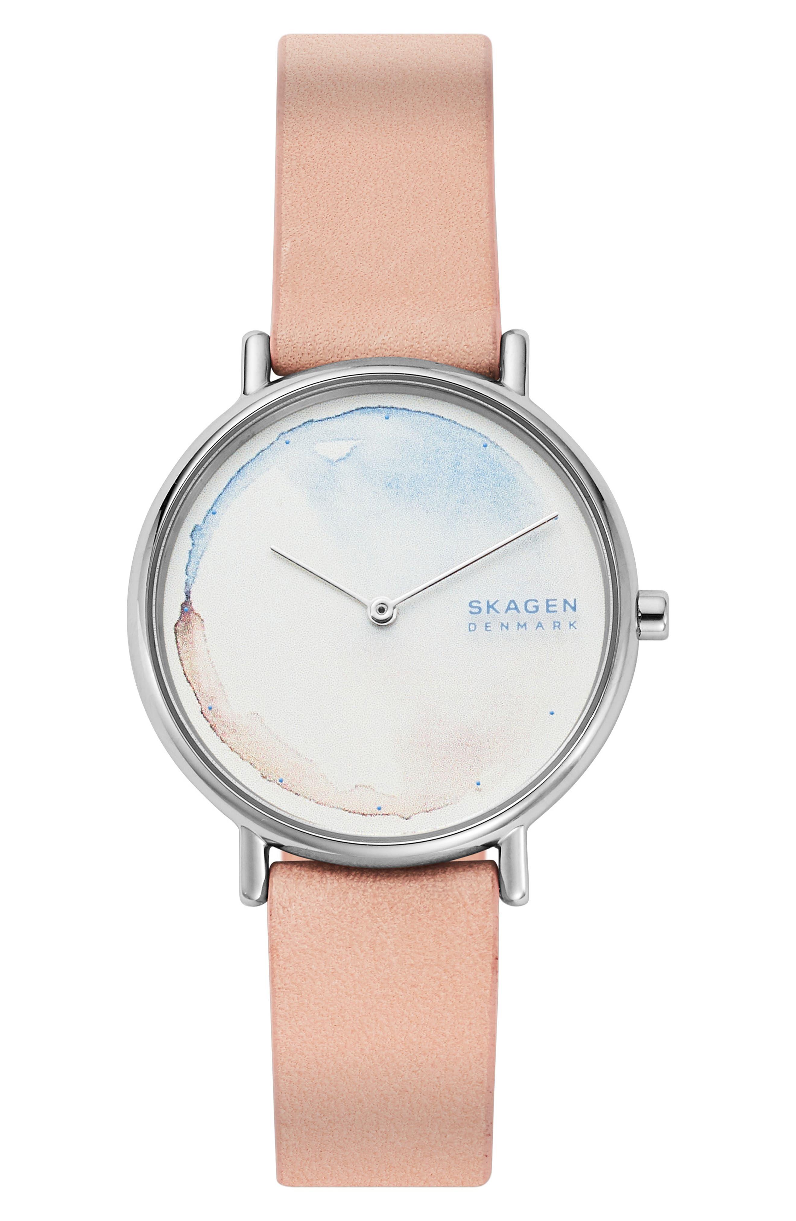women's skagen signatur leather strap watch, 36mm
