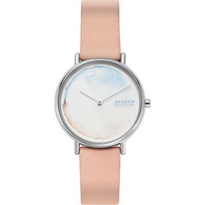 Skagen Signatur Leather Strap Watch,