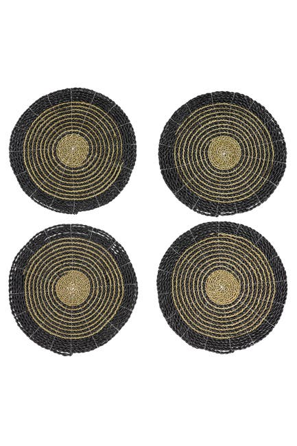 Image of Willow Row Round Striped Gray & Natural Seagrass Placemats - Set of 4