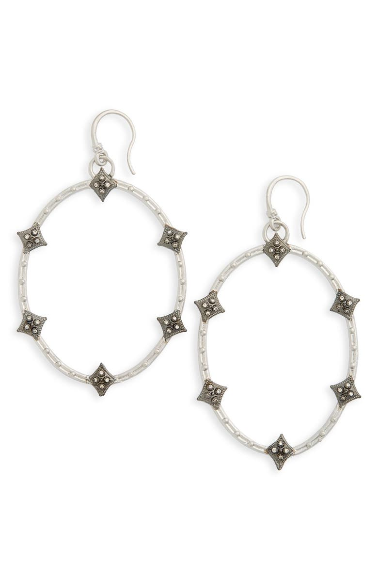 ARMENTA Old World Crivelli Oval Drop Diamond Earrings, Main, color, SILVER