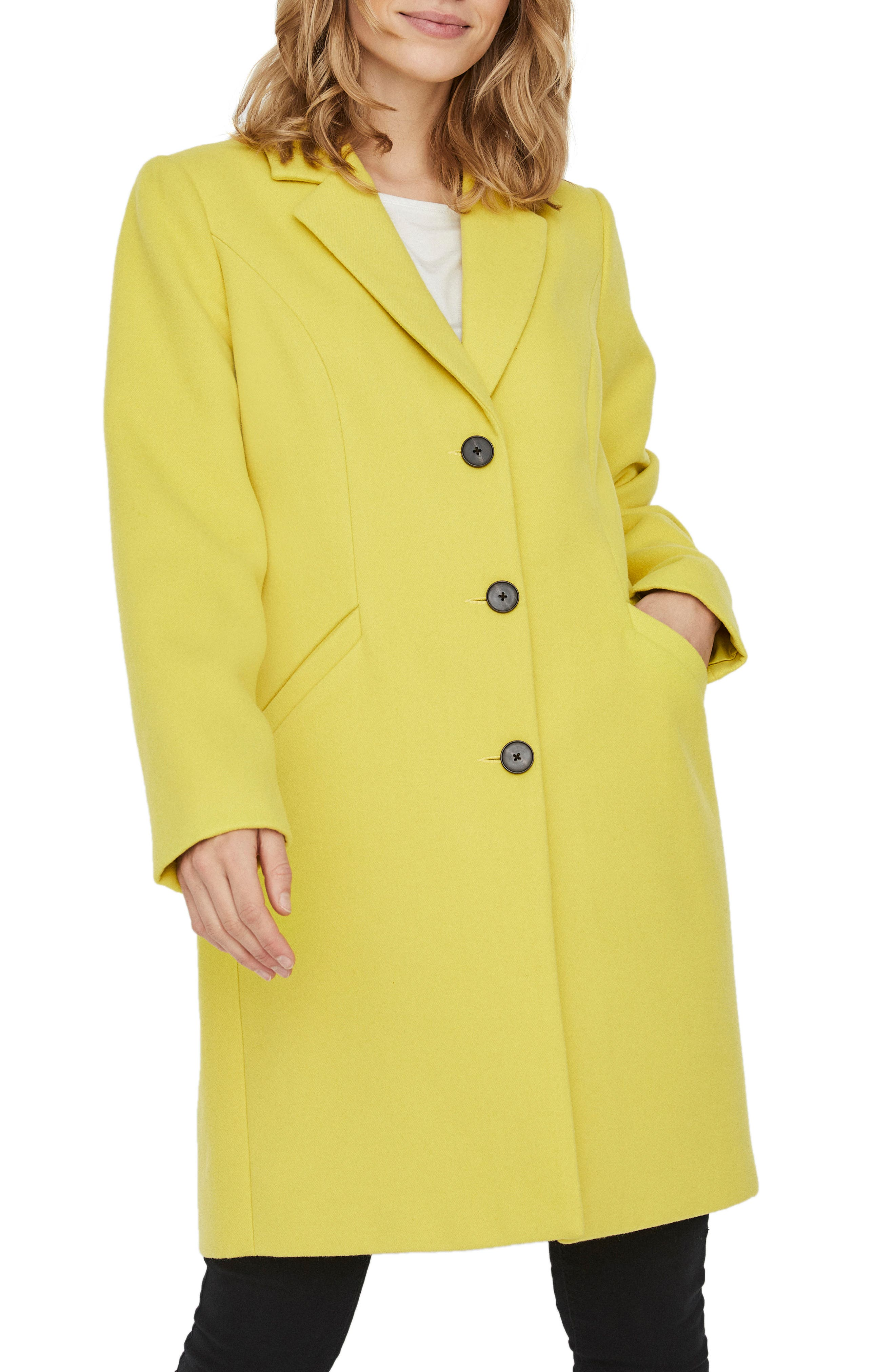 Elevate your outerwear game with this bright, button-front jacket topped with a crisp notched collar. Style Name: Vero Moda Calacindy Coat. Style Number: 6076310. Available in stores.