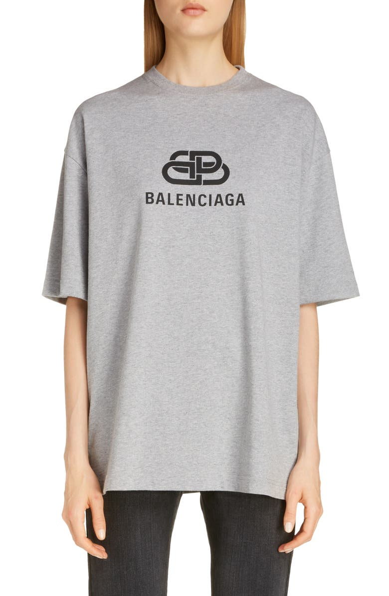 BALENCIAGA BB Logo Oversize Graphic Tee, Main, color, HEATHER GREY