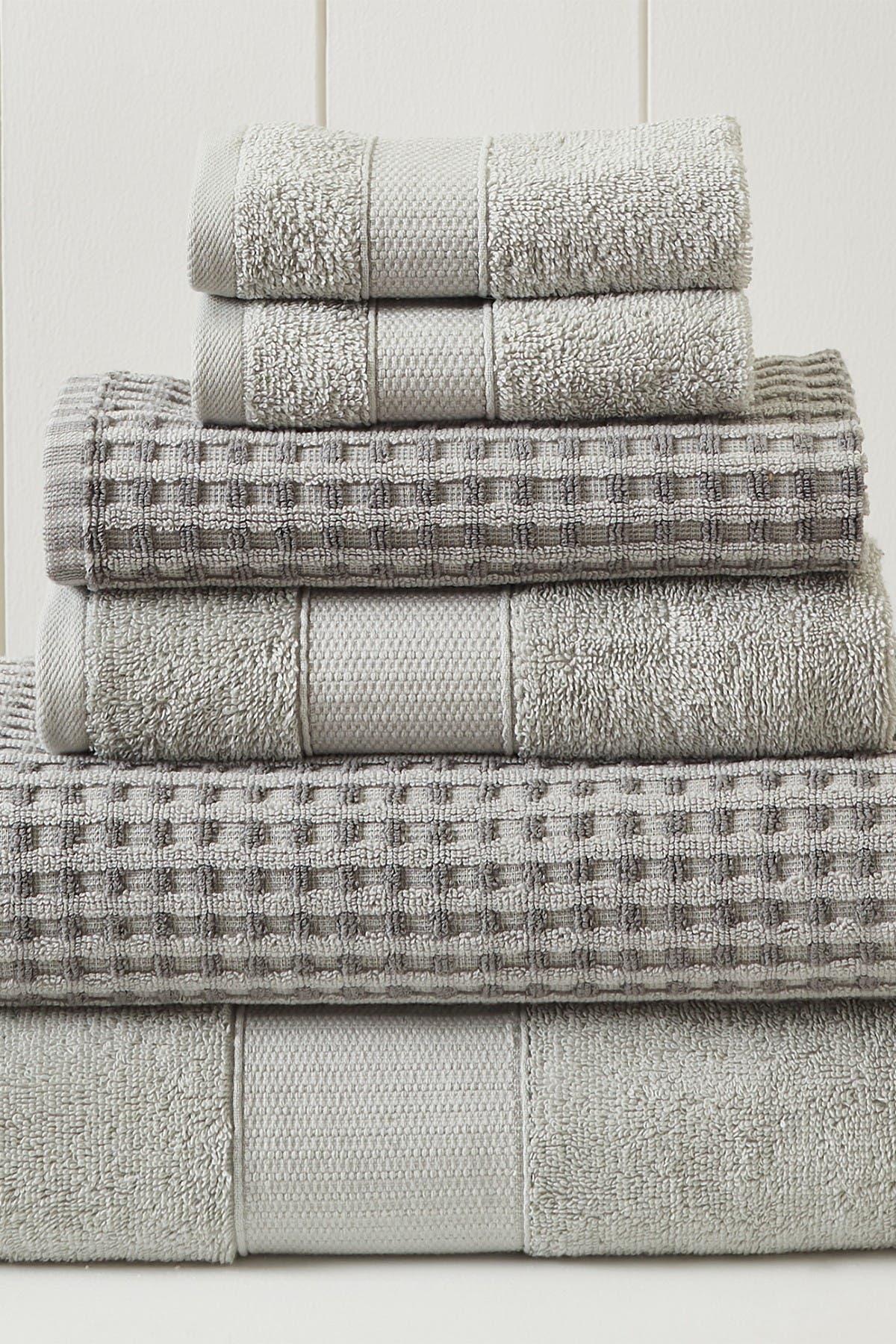 Image of Modern Threads Luxury Spa Cobblestone Quick Dry 6-Piece Towel Set - Silver