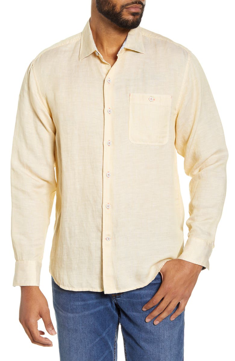 TOMMY BAHAMA Line in the Sand Linen & Tencel<sup>®</sup> Lyocell Button-Up Shirt, Main, color, WHEATEN