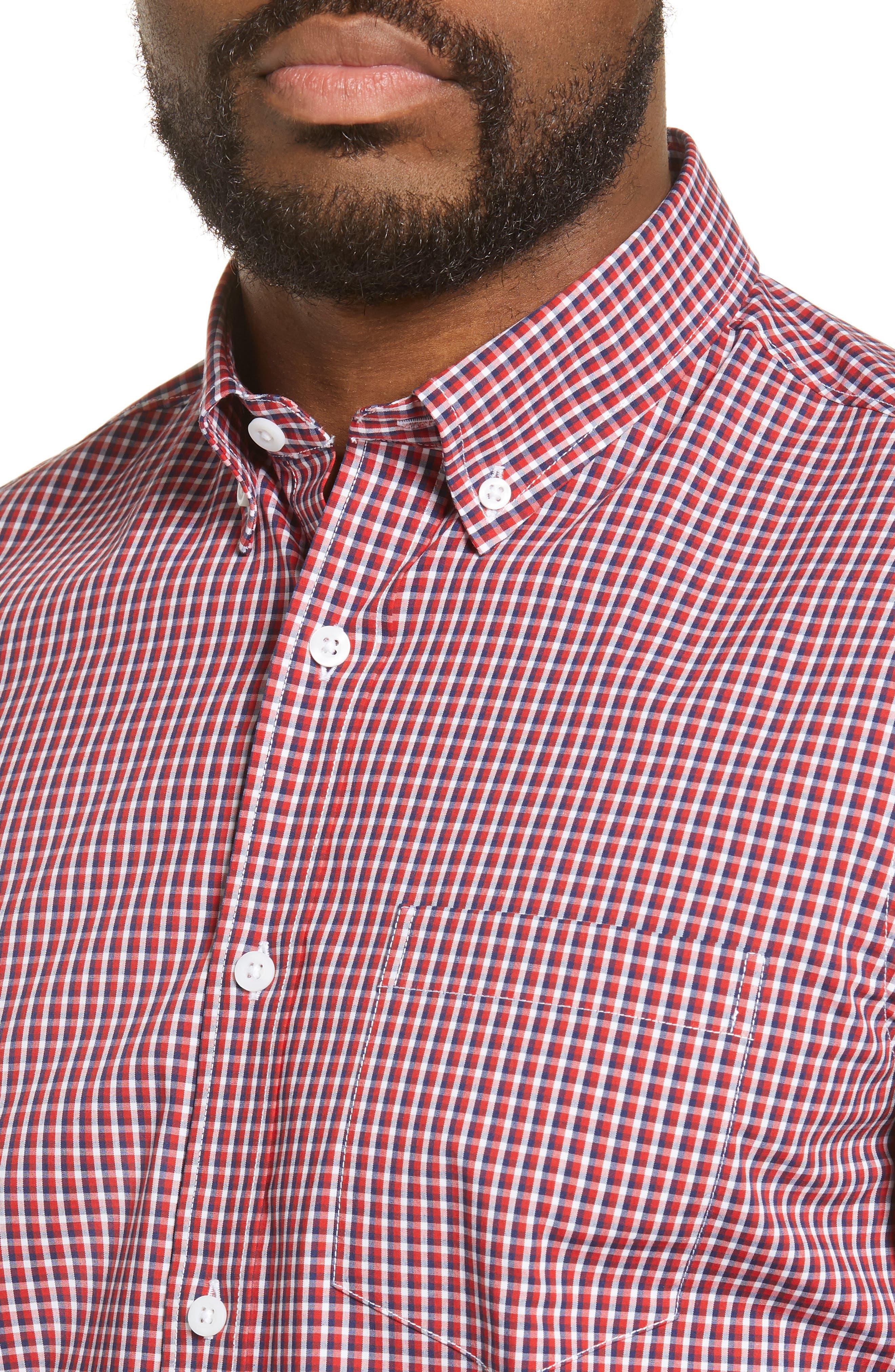 ,                             Tech-Smart Regular Fit Check Sport Shirt,                             Alternate thumbnail 2, color,                             RED POMPEII NAVY CHECK