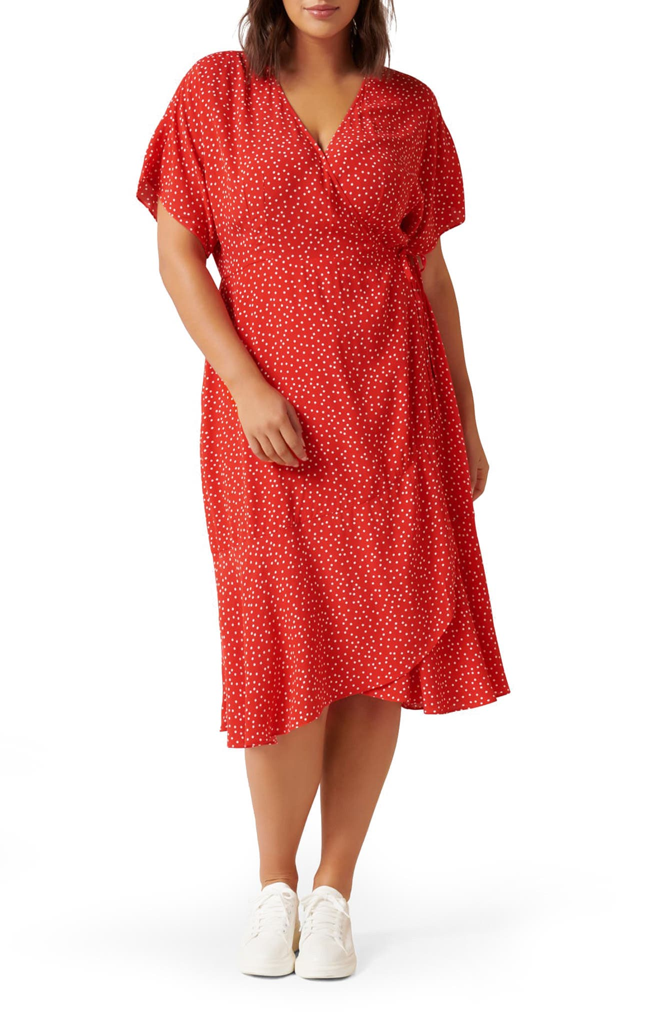 1980s Clothing, Fashion | 80s Style Clothes Plus Size Womens Ever New Clementine Dot Print Wrap Dress Size 18W - Red $145.00 AT vintagedancer.com