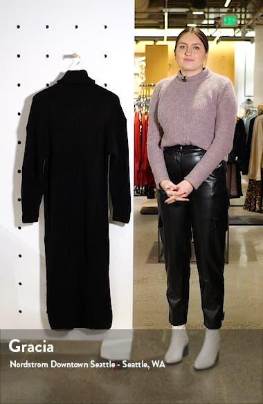Colorblock Turtleneck Long Sleeve Sweater Dress, sales video thumbnail