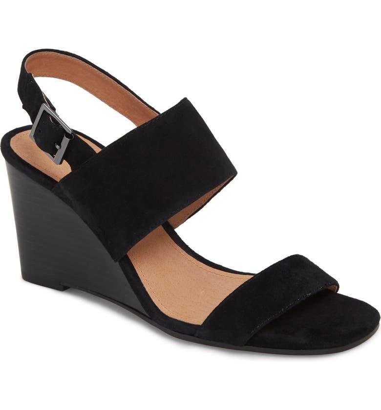 HALOGEN<SUP>®</SUP> Aster Wedge Slingback Sandal, Main, color, BLACK SUEDE