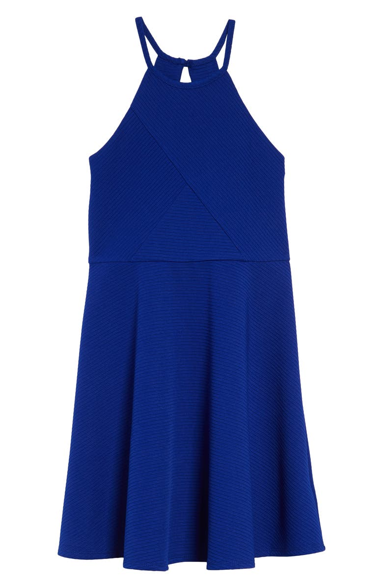 ZUNIE Textured Skater Dress, Main, color, BLUE