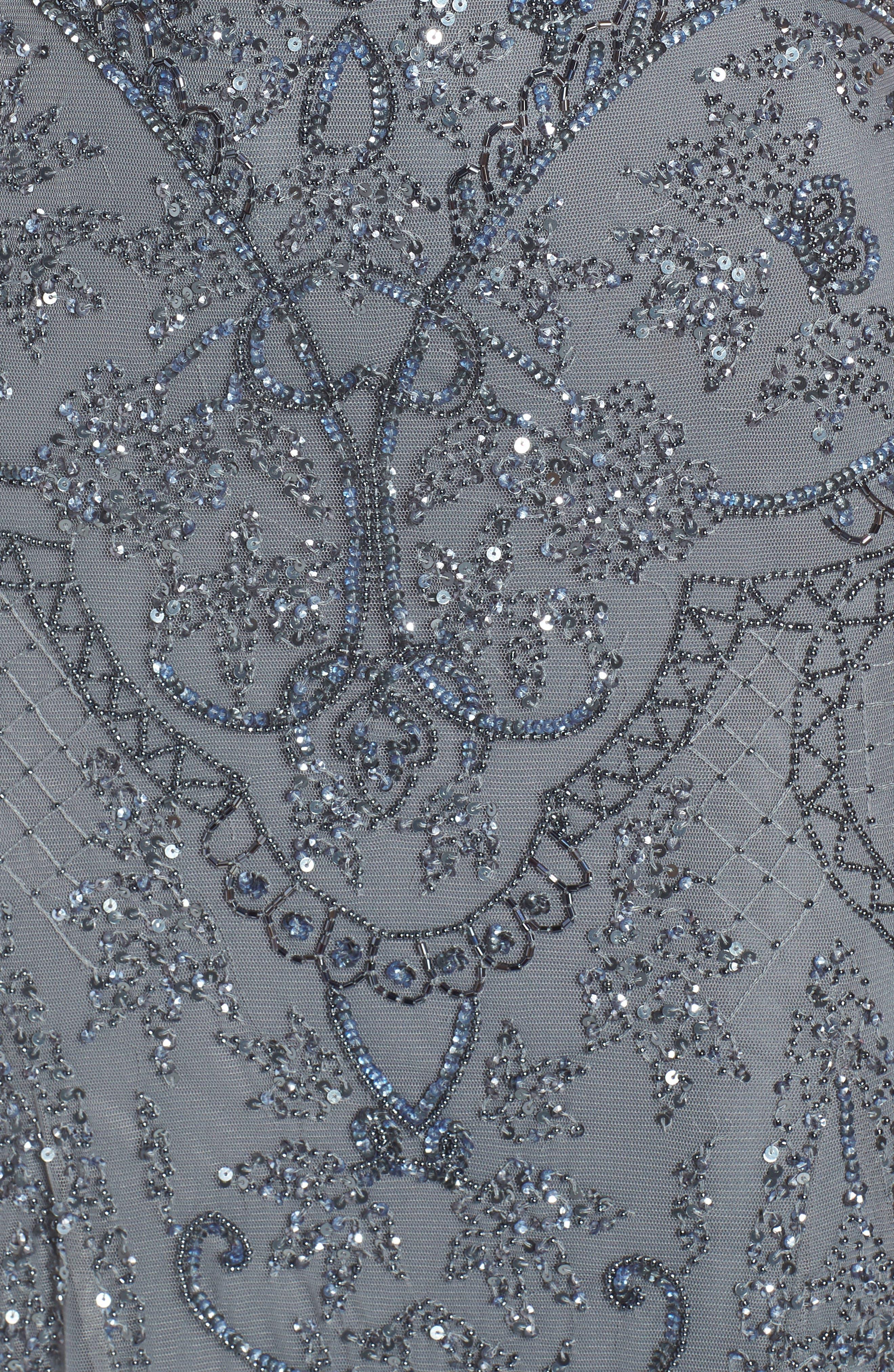 ,                             Embellished Mesh Gown,                             Alternate thumbnail 6, color,                             STEEL